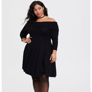Torrid Off Shoulder Black Sweater Dress Size 1X